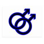Símbolo homosexual masculino tarjeta postal