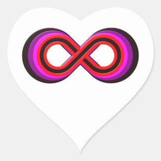 Símbolo infinito infinity pegatina en forma de corazón