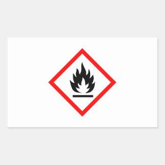 Símbolo inflamable/pictograma rectangular pegatinas