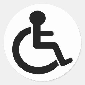 Símbolo inhabilitado incapacidad pegatina redonda