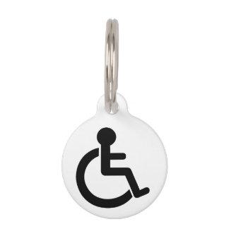 Símbolo inhabilitado incapacidad placa de mascota