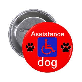 símbolo inhabilitado perro de la ayuda con las pat pin redondo 5 cm