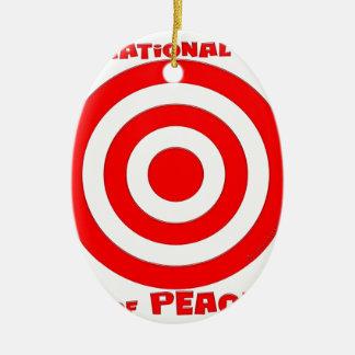 Símbolo internacional de la paz adorno navideño ovalado de cerámica