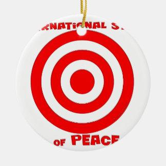 Símbolo internacional de la paz adorno navideño redondo de cerámica