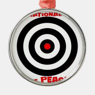 Símbolo internacional de la paz - paz en la tierra adorno redondo plateado