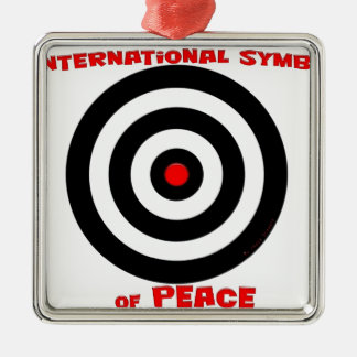 Símbolo internacional de la paz - paz en la tierra adorno cuadrado plateado