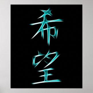 Símbolo japonés de la caligrafía del kanji de la e póster