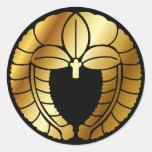 Símbolo japonés del escudo de la familia (KAMON) Pegatina Redonda
