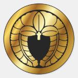Símbolo japonés del escudo de la familia (KAMON) Pegatinas Redondas