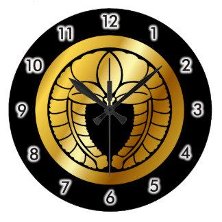Símbolo japonés del escudo de la familia (KAMON) Reloj Redondo Grande