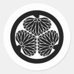 Símbolo japonés del escudo KAMON de la familia Pegatina Redonda