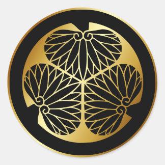Símbolo japonés del escudo KAMON de la familia Etiqueta Redonda