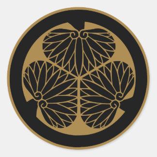 Símbolo japonés del escudo KAMON de la familia Pegatinas Redondas