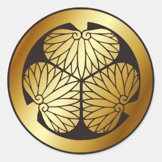 Símbolo japonés del escudo KAMON de la familia Etiqueta