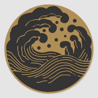 Símbolo japonés del escudo KAMON de la familia Pegatina