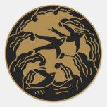 Símbolo japonés del escudo KAMON de la familia Etiquetas Redondas