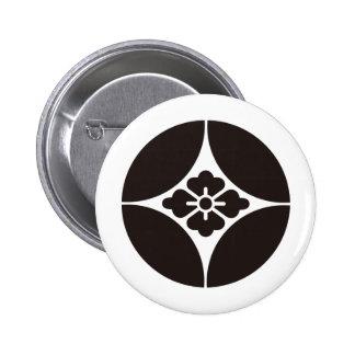 Símbolo japonés del escudo KAMON de la familia Pin Redondo 5 Cm