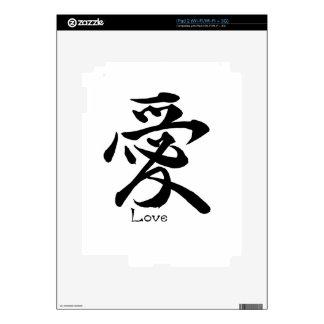 Símbolo japonés del kanji de la caligrafía del calcomanías para el iPad 2