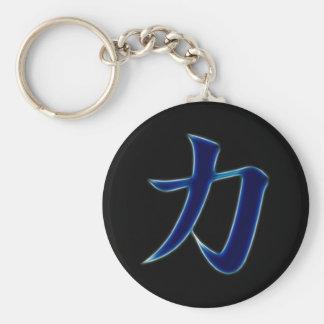 Símbolo japonés del kanji de la fuerza llavero redondo tipo pin