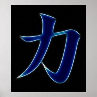 Símbolo japonés del kanji de la fuerza póster