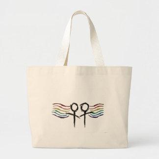 Símbolo lesbiano de la hembra del orgullo bolsa tela grande