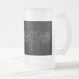 Símbolo lesbiano de la hembra del orgullo taza de cristal