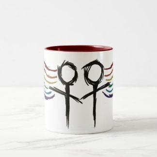 Símbolo lesbiano de la hembra del orgullo taza de dos tonos