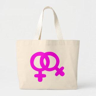 Símbolo lesbiano de los pares bolsa tela grande