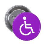 Símbolo lisiado o muestra púrpura y blanca de la d pin