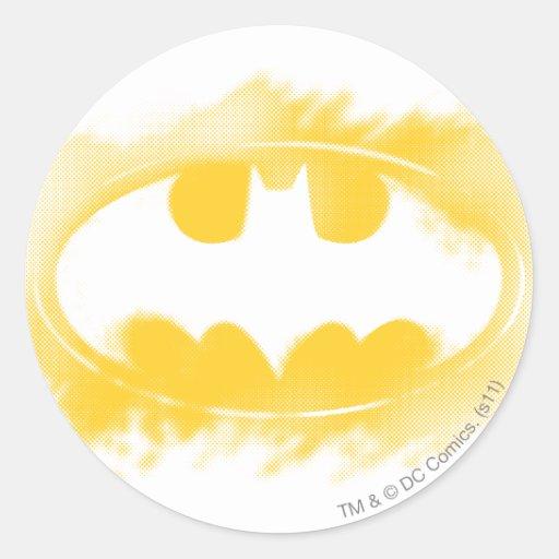 Símbolo logotipo negro y amarillo del | de Batman Pegatina Redonda