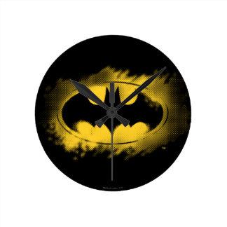 Símbolo logotipo negro y amarillo del | de Batman Reloj Redondo Mediano