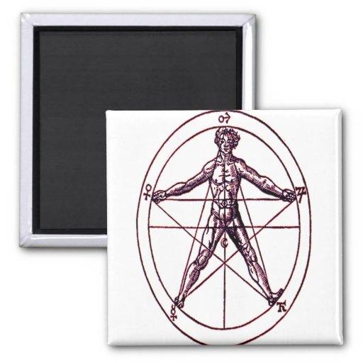 Símbolo *Magical de Pentagram* del hombre Imán Para Frigorifico