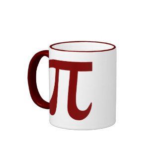 Símbolo marrón del pi tazas