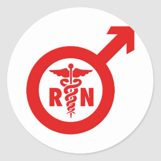 Símbolo masculino de la enfermera de Murse Pegatina Redonda