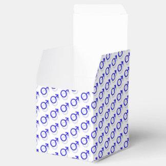 Símbolo masculino del género cajas para regalos de boda