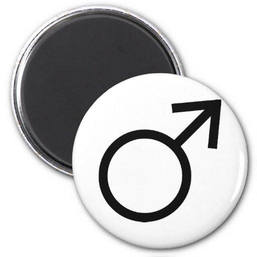 Símbolo masculino del género imán redondo 5 cm