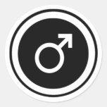 Símbolo masculino pegatina redonda