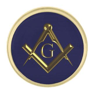 Símbolo masónico del cuadrado y del compás insignia dorada