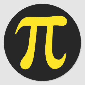 Símbolo matemático amarillo del pi en los pegatina redonda