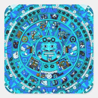 Símbolo maya antiguo del calendario pegatina cuadrada