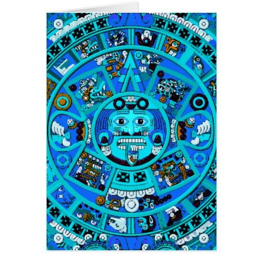 Símbolo maya antiguo del calendario tarjeta de felicitación