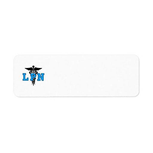 Símbolo médico de las enfermeras LPN Etiquetas De Remite