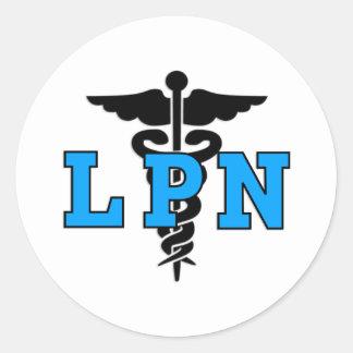 Símbolo médico de las enfermeras LPN Pegatina Redonda