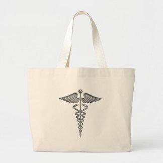 Símbolo médico de plata bolsa tela grande