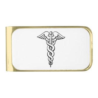 Símbolo médico del caduceo clip para billetes dorado
