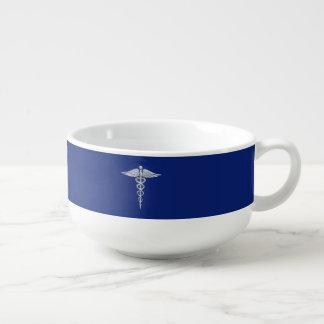 Símbolo médico del caduceo de plata del cromo en bol para sopa