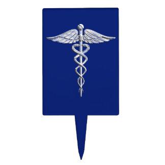 Símbolo médico del caduceo de plata del cromo en decoraciones para tartas