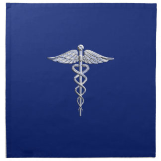Símbolo médico del caduceo del estilo del cromo en servilleta de papel