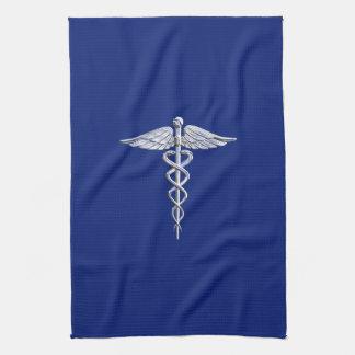 Símbolo médico del caduceo del estilo del cromo en toallas