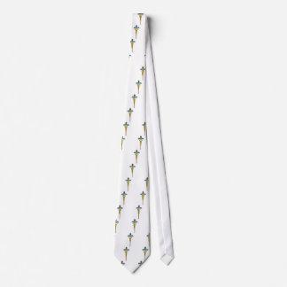 SÍMBOLO MÉDICO del CADUCEO del ORO, blanco Corbata